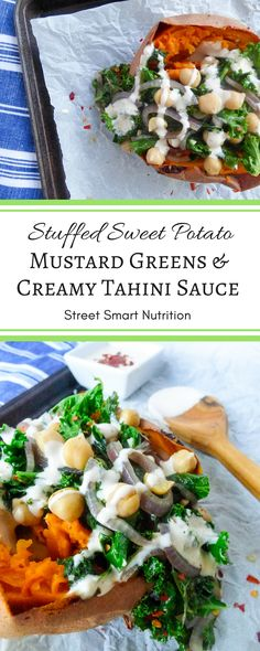 Stuffed Sweet Potato with Mustard Greens and Creamy Tahini Sauce