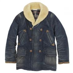 RRL Denim Car Coat with Shearling