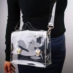 New Fashion PVC Transparent Bag Clear Handbag Tote Shoulder Bag Crossbody Bag