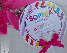 Anniversaire de Candyland Invitations par thepaperkingdom sur Etsy