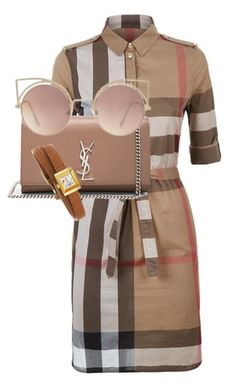"""""""Untitled #93"""" by sosomi on Polyvore featuring Burberry, Yves Saint Laurent, MANGO and Gucci"""
