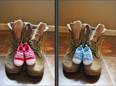 My baby's daddys boots and baby shoes...we find out the gender in one month!! # Pregnancy, gender, kids, baby