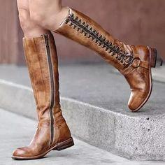 US$ 69.99 - Retro Lace-up Boots Casual Comfortable Knee Boots - m.lokeeda.com Tall Boots, High Heel Boots, Lace Up Boots, Knee Boots, Heeled Boots, Women's Boots, Rachel Zoe, Wedding Boots, Westerns