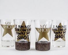 Its time to take a shot! These shot glasses are the perfect way to show your love of the Broadway Musical Hamilton. They is designed to feature the lyrics to 'My Shot' in vinyl.  Choose from two different styles. Either the classic MY SHOT in true Hamilton style or the I am Not Throwing Away My Shot Design. You also have the option to add a glitter bottom to the shot glass! Pricing is for one shot glass!  Looking for a different Hamilton phrase? No worries, send me a message and we can…