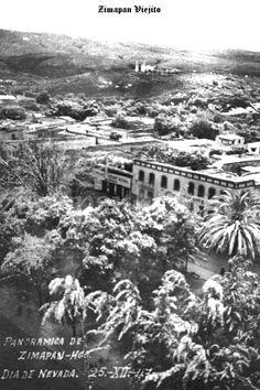 Panoramica parcial dia de la nevada el 25 de Diciembre de  1947 en Zimapan Hidalgo Mexico