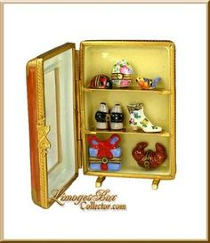 Display Case with Miniature Limoges Boxes - Retired Small Jewelry Box, Pretty Box, Pill Boxes, Tiny Treasures, Bottle Vase, China Painting, Treasure Boxes, Little Boxes, Vases Decor