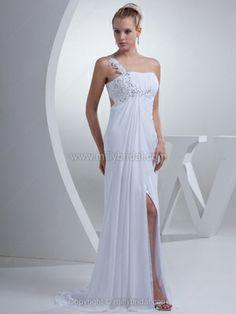 Empire One Shoulder Chiffon Sweep Train Appliques Wedding Dresses#00017869
