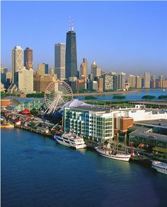 Navy Pier, Chicago. John Hancock bldng in background (tallest one) Great city!! lived here.