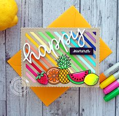 Sunny Studio Stamps: Happy Summer Rainbow Striped Fresh & Fruity Fruit Themed Card by Vanessa Menhorn (featuring Frilly Frames Striped Dies & Happy Word Die) Cherry Images, Sunnies Studios, Rainbow Card, Fruits Images, Color Card, Clear Stamps, Scrapbook Paper, Making Ideas, Cardmaking