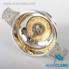 Malcolm Clan Crest Quaich. worldwide shipping available.