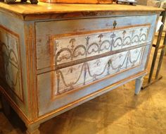 Antique Biedermeier chest, painted on front and sides, two drawers, inv.#15-234, asking $5,200.