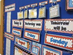 Calendar activities-great post I like the weather pictures on a ring. Kindergarten Calendar, Calendar Activities, Classroom Calendar, Math Classroom, Kindergarten Classroom, Classroom Activities, Teaching Math, Classroom Setup, Circus Classroom