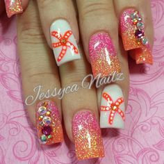 Pink & orange ombre nails