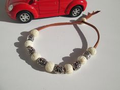 Cool Bracelet featuring Leather bone and silver beads