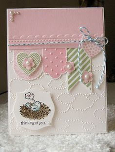Eileen's lovely banner card uses Hearts a Flutter & its framelits, For the Birds, Apothecary Accents framelits, Cloudy Day & Needlepoint Border embossing folders.