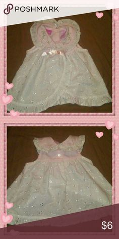 Little Lindsey Baby White Eyelet Dress Like new! Adorable white eyelet with pink collar. Embroidered accents and flower appliques on collar. Does not have panties. But you can add your own or a pair of leggings. Little Lindsey Dresses