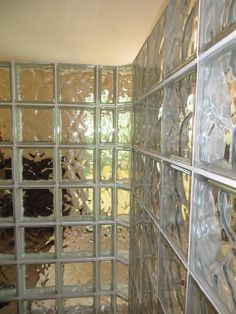 A view from inside the glass block shower.