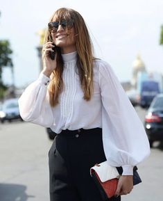 "chicblanccouture: "" street style 2015 by grazia "" Zerschnittene Shirts, Cut Up Shirts, Fashion Mode, Womens Fashion, Fashion Trends, Puffy Shirt, Puffy Sleeves Blouse, Puffed Sleeves, Victorian Shirt"