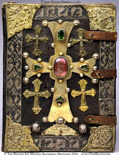 T'oros Roslin Gospels, Turkish, 1262, by T'OROS ROSLIN (Scribe & Artist. Armenia, fl. 1256-1268). Engraved & nielloed silver and jewels. ☩