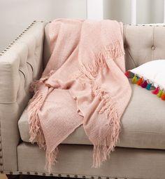Contemporary Luxury Neutral Blush Acrylic Tasselled Fringe Warm Cosy Decor Throw