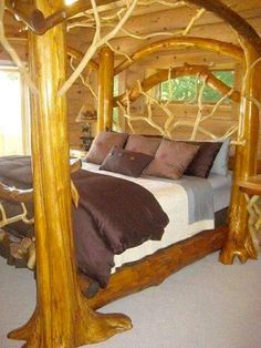 Log Furniture St Ignace cabin rental - Master bedroom featuring one of a kind king bed Rustic Log Furniture, Cool Furniture, Bedroom Furniture, Bedroom Decor, Cabin Furniture, Master Bedroom, Western Furniture, Nautical Bedroom, Furniture Design
