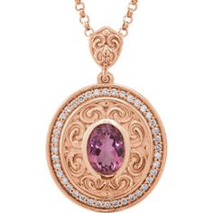 "*14K Rose 8x6mm Oval Pink Tourmaline & 1/5 ct tw Diamond 18"" Necklace 
