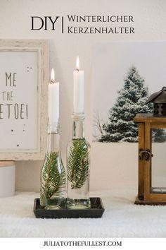 DIY winterliche Kerzenhalter - wow sehen die nicht toll aus? Anleitung hab ich dir hinterlegt. :) Weihnachtdeko ideen, winter deko basteln, diy winterdeko, diy weihnachtsdeko do it yourself kerzenhalter basteln mit zweigen #juliatothefullest #diy #winter #weihnachten #doityourself