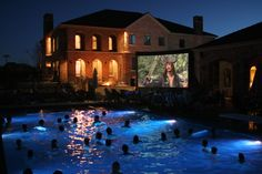 Ideas for backyard movie party swimming pools My Pool, Swimming Pools Backyard, Backyard Movie Party, Pool Movie, Porches, Night Swimming, Dream Pools, Cool Pools, Outdoor Areas
