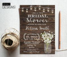 Rustic Bridal Shower Invitation Printable by ohlillydesigns