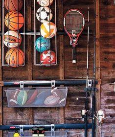 organizing sports equipment