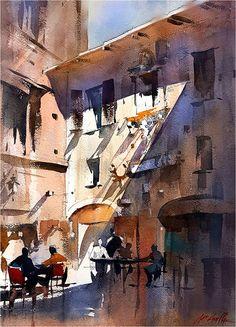 Тінь - Piazza Biscione - Рим Томас У. Шаллер Акварель ~ 20 x 14 дюймів