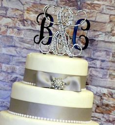 "5"" Vine Monogram Cake Topper Partially Decorated with Swarovski Crystals in Any Letters A B C D E F G H I J K L M N O P Q R S T U V W X Y Z"