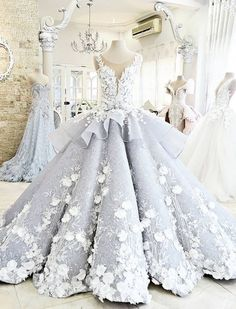 Grey Prom Dresses, Long Prom Dresses, Pretty Ball Gown Flowers Long Quinceanera Dress,Backless Princess Formal Dress Wedding /Prom WF01-495