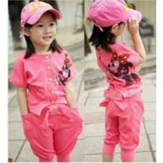 Free shipping Fashion  Kids Girl clothes Casual Sport Suit Set T-shirt + Harem Pants 5pcs/lot Top Quality