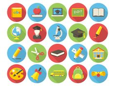Education, modern flat icon with long shadow , Picture Cube, Education Icon, Long Shadow, Art Template, Learning Colors, Vector Icons, Icon Set, Icon Design, Overlays