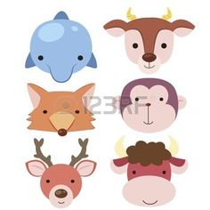 six cute cartoon animal head icons photo