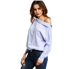 Europe 2017 Spring Fashion New Asymmetrical Blue Striped Women's Shirt Off the Shoulder Sexy Women Blouses Cute Office Lady Top