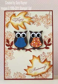An owl anniversary card for Fall