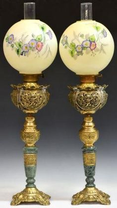 (2) VICTORIAN STYLE GILT & MARBLE BANQUET LAMPS | Austin Auction Gallery