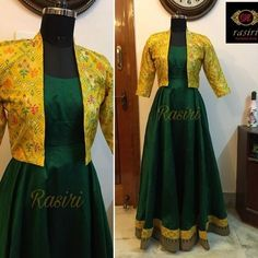 Revamped an old saree to this flowy long length double flared gown and teamed up with a brocade jacket. Customised for Ruchitha. Long Dress Design, Dress Neck Designs, Saree Blouse Designs, Saree Gown, Lehnga Dress, Lehenga, Designer Anarkali Dresses, Designer Dresses, Designer Wear