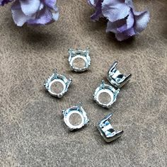 Art 4600 Gemstone Crystal s Bead Embroidery Component 3 Pieces Silver or Gold Plated 12x10mm Octagon Settings