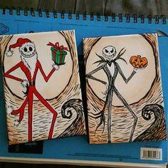 Paint one image with the Santa suit on transfer paper like the movie Pesadilla de Jack skellington antes de por ButterflyCreation