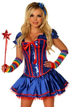- Steel Boned sequin corset with satin peasant sleeves, side zipper closure and lace-up back for cinching - Satin skirt - Red Petticoat - Headband - Wand - Arm Warmers - Leg Warmers - Hand Wash Only D