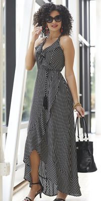 Halter-style maxi wraps around front with self-fabric tassle belt.Buy Now, Pay Later with ASHRO Credit! Floral Dress Outfits, Striped Maxi Dresses, Chic Outfits, Cute Dresses, Casual Dresses, Fashion Dresses, Summer Outfits Women, Summer Dresses, Cute Simple Outfits