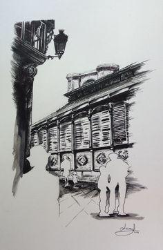 Dibujo a tinta y aguada del Mercado del Val (Valladolid)
