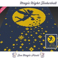 Magic Night Tinkerbell is a graph pattern that can be used to crochet a baby blanket using C2C (Corner to Corner), TSS (Tunisian Simple Stitch) and other techniques. Alternatively, you can use this graph for knitting, cross stitching and other crafts.  This graph design is 80 squares wide by 100 squares high.  It requires 2 colors.  Pattern PDF includes: - color illustration for reference - color squares pattern  Images only. There are NO written counts or step-by-step instructions. This…