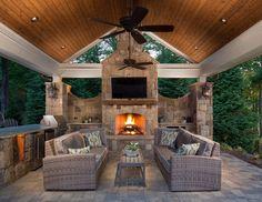 Outdoor entertainment area patio backyard fireplace, outside fireplace, outdoor fireplace designs, porch ideas Backyard Pavilion, Backyard Patio Designs, Patio Ideas, Porch Ideas, Deck Gazebo, Pergola Roof, Backyard Ideas, Outdoor Living Rooms, Outdoor Spaces