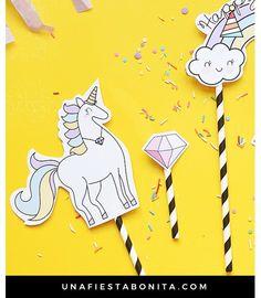 Toppers enamorables de unicornios para decorar tartas