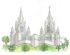 San Diego Temple LDS  Watercolor Print by Pineappleprints93