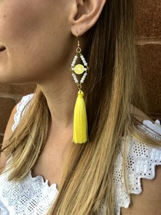 Large lemon print beaded Tassel earrings